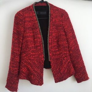 Red Tweed Blazer with Silver Beading